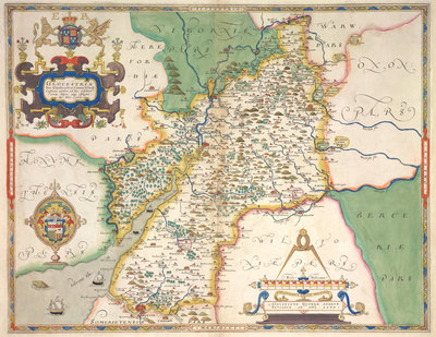 Map of Gloucestershire by Christopher Saxton - print