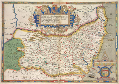Map of Suffolk by Christopher Saxton - print
