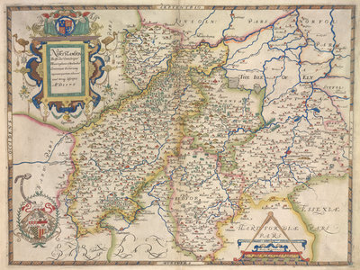 Map of Northamptonshire, Bedfordshire, Cambridgeshire, Huntingdonshire by Christopher Saxton - print