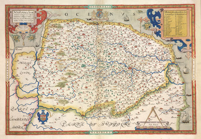 Map of Norfolk by Christopher Saxton - print