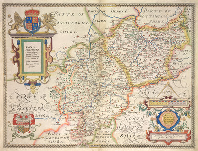 Map of Warwickshire and Leicestershire by Christopher Saxton - print
