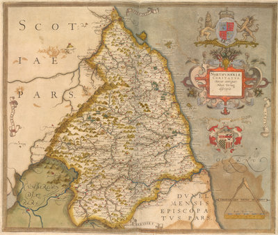 Map of Northumbria by Christopher Saxton - print