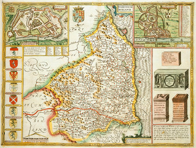 Map of Northumberland by John Speed - print