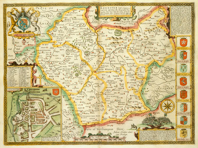 Map of Leicestershire by John Speed - print