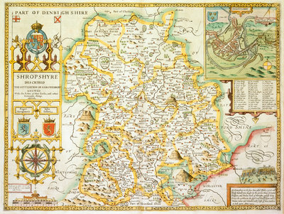 Map of Shropshire by John Speed - print