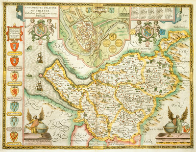Map of Cheshire by John Speed - print