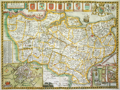 Map of Kent by John Speed - print
