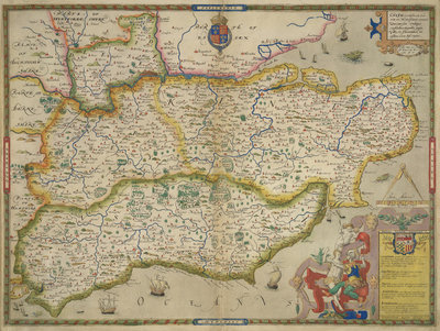 Map of Sussex, Kent, Surrey and Middlesex by Christopher Saxton - print