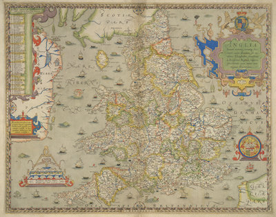 Map of England and Wales by Christopher Saxton - print