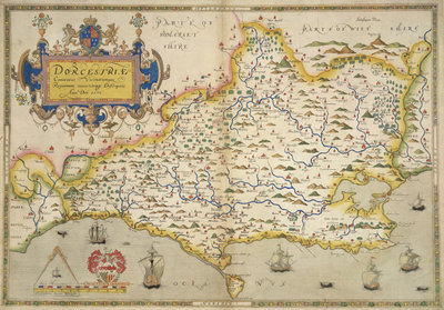 Map of Dorset by Christopher Saxton - print