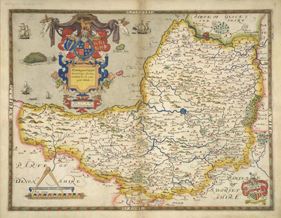 Map of Somerset by Christopher Saxton - print