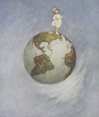 Young girl standing on the Earth by Jessie Willcox Smith - print