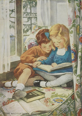 Children reading by Jessie Willcox Smith - print