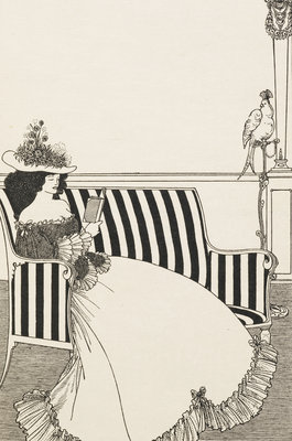 Woman reading by Aubrey Beardsley - print