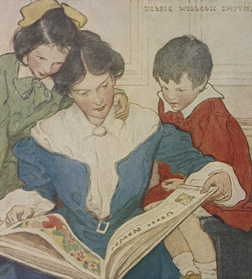 A mother and her children reading a book by Jessie Willcox Smith - print