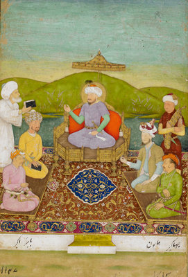 Timur enthroned with his descendants from Babur to Jahangir by Hashim - print