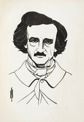 A Portrait of Edgar Allan Poe by Aubrey Beardsley - print