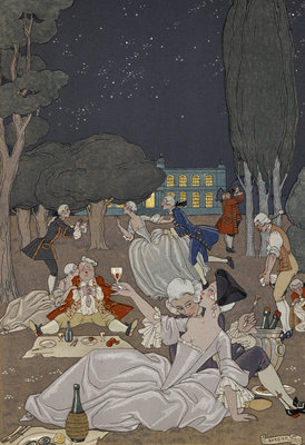 Evening romance by George Barbier - print
