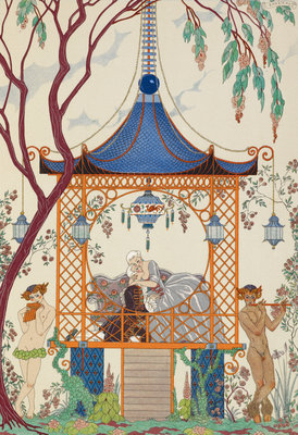 Romance in the gazebo by George Barbier - print