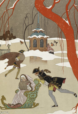 Skating - en patinant by George Barbier - print