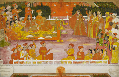 A young nobleman enjoying Holi with his consort by Nidhamal - print