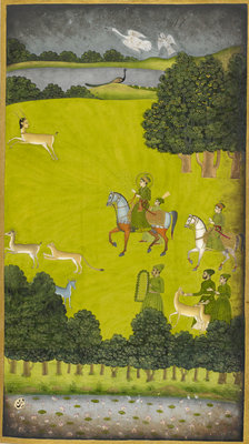 Prince Gauhar on a hunting expedition by Anonymous - print