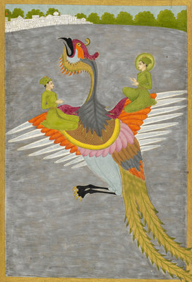 Prince Gauhar and his companion rescued by the simurgh by Govardhan II - print
