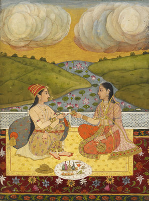 Two ladies on a terrace by Rai Anup Chattar - print