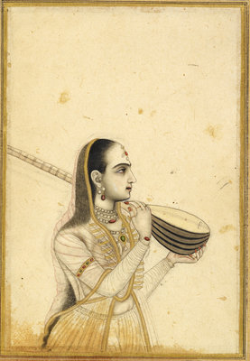 Lady with a tambura by Kalyan Das (Chitarman) - print