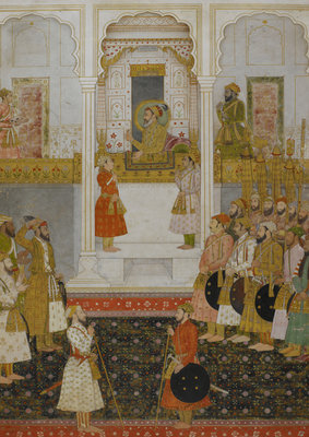 Prince Aurangzeb reports to Shah Jahan in durbar at Lahore in 1649. by Anonymous - print
