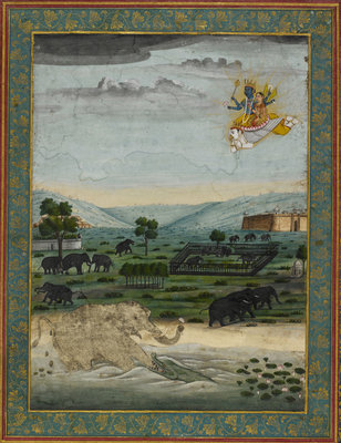 Vishnu flying on Garuda to rescue the elephant king by Dip Chand - print