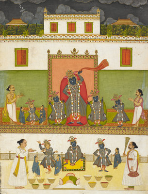 Krishna worshipped under the form of Srinathji  by Anonymous - print