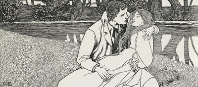 A couple embracing by Fritz von Ostini - print