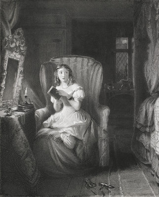 Girl reading ghost stories by R. Graves - print