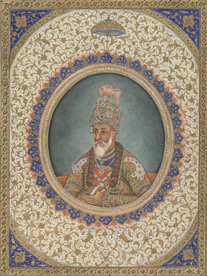 Portrait of Bahadur Shah II, the last Mughal Emperor by Circle of Ghulam 'Ali Khan - print