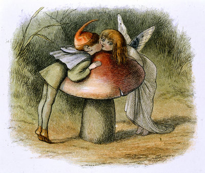 A fairy and an elf kissing by Richard Doyle - print