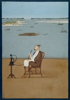 Ashraf 'Ali Khan smoking a hookah by Dip Chand - print