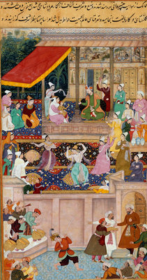 The child Akbar recognizes his mother at Kabul in 1545 by Madhu - print