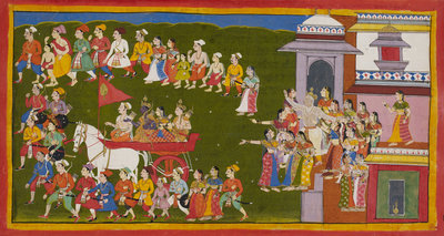 Rama, Sita and Laksmana leave Ayodhya by Anonymous - print
