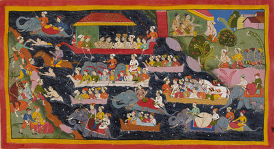 Bharata crosses the Ganges in search of Rama by Anonymous - print