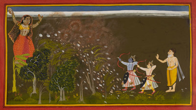 Rama kills the demoness Tadaka by Manohar - print
