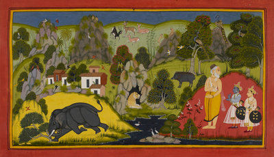 Rama is given divine weapons by Manohar - print