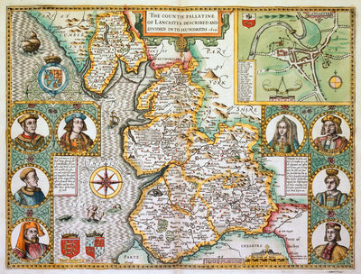 Map of Lancashire by John Speed - print