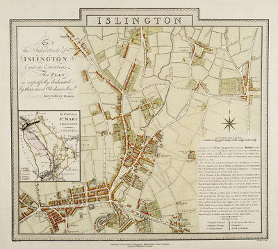 Map of Islington, London by Edward & Benjamin Baker - print