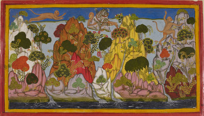 Hanuman looks for magical herbs by Anonymous - print