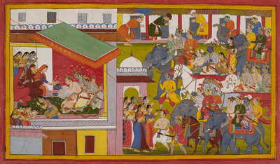 Rama and Sita return to Ayodhya by Anonymous - print