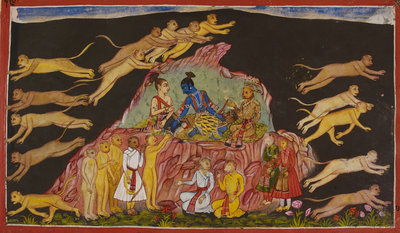 Sugriva sends out the monkeys to rescue Sita by Anonymous - print