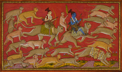 Rama and the monkey army set out to rescue Sita by Anonymous - print