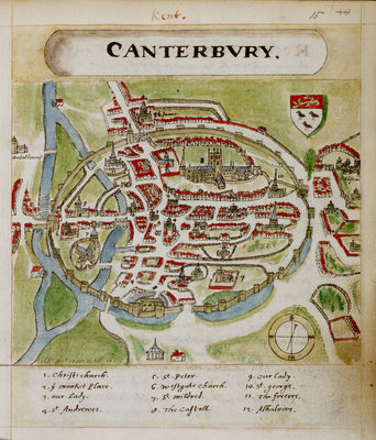 A historic map of Canterbury by Anonymous - print