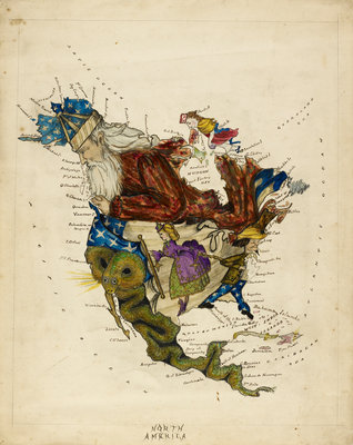 Cartoon map of South America by Lillian Lancaster - print